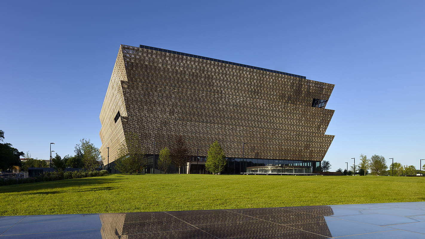 An aspect of the new Smithsonian National Museum of African American History and Culture at the National Mall.