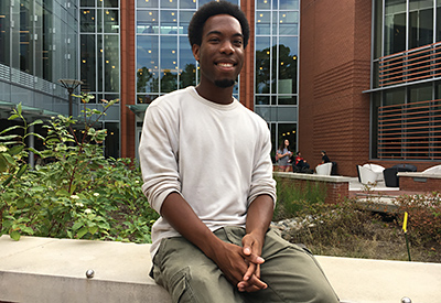 Jordan Anderson, a junior majoring in environmental technology and management in the College of Natural Resources, is vice president of AYA Ambassadors, a program of the African American Cultural Center.