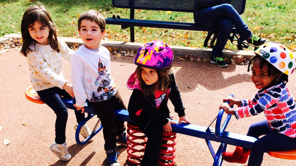 The daughter of Aaron Hipp — co-principal investigator on the childhood obesity grant — and her friends at the park.