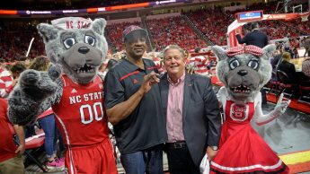 Randy Ramsey with Mr. and Ms. Wuf and NC State basketball legend David Thompson.