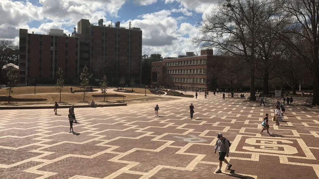 The Brickyard with the new green space in place of Harrelson Hall.
