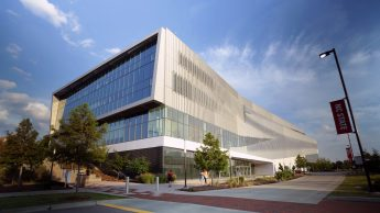 The exterior of the Hunt Library at NC State.