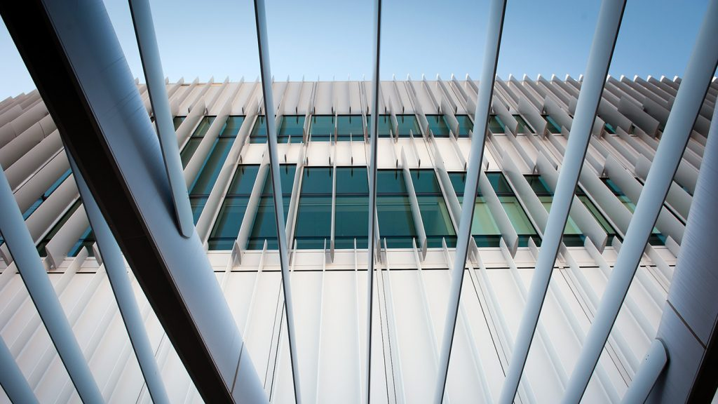 An exterior shot of the solar fins of NC State's Hunt Library.