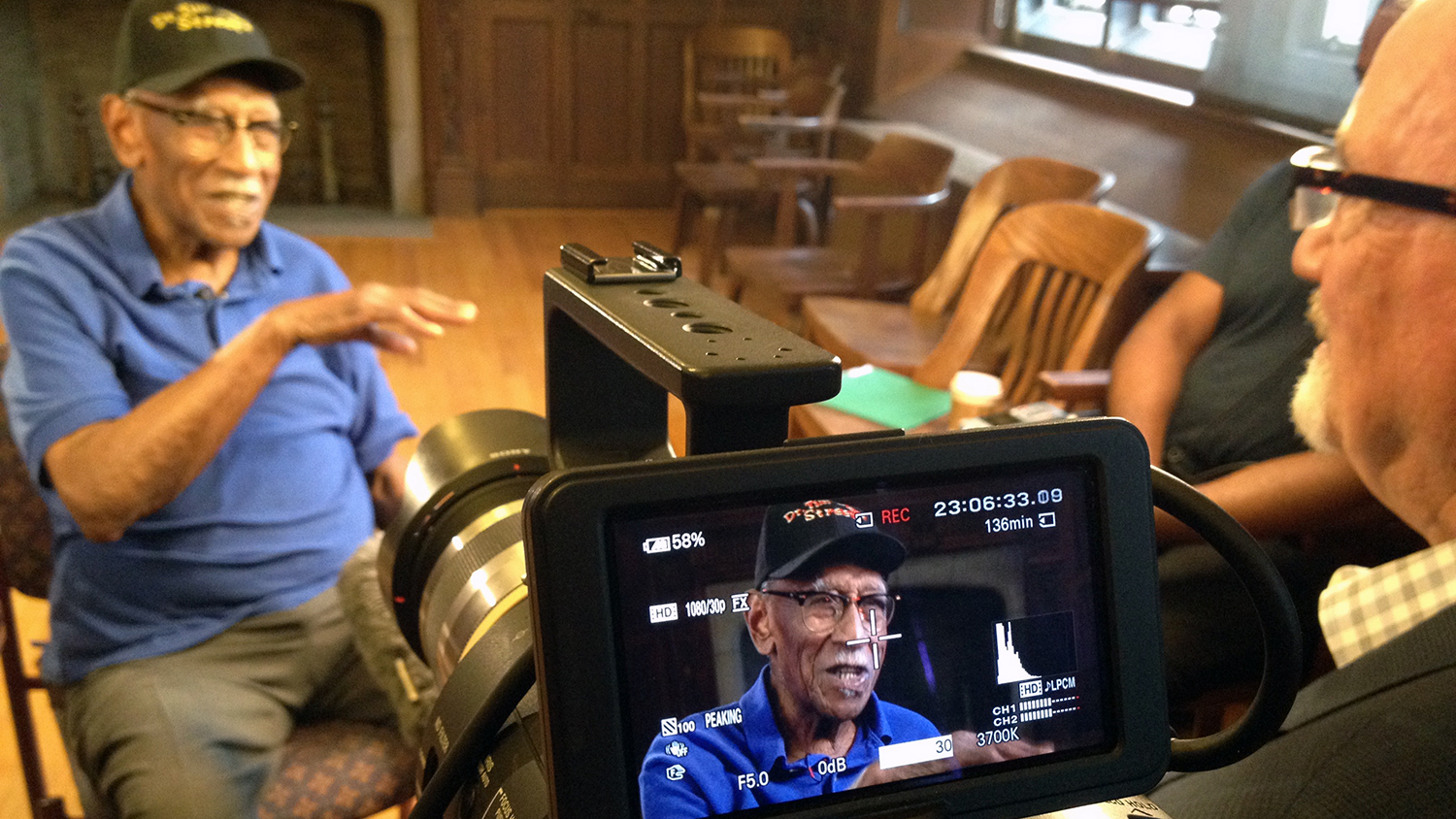 Walt Wolfram interviews a subject for his documentary Talking Black in America.