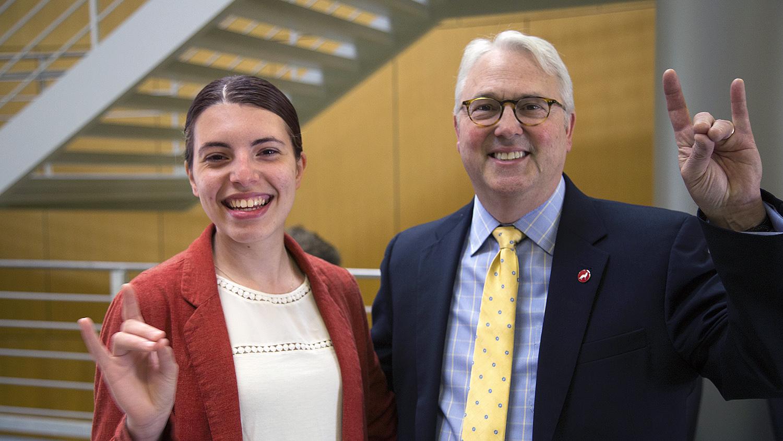 Chancellor Randy Woodson with Alex Hsain, 2017 Truman Scholar.