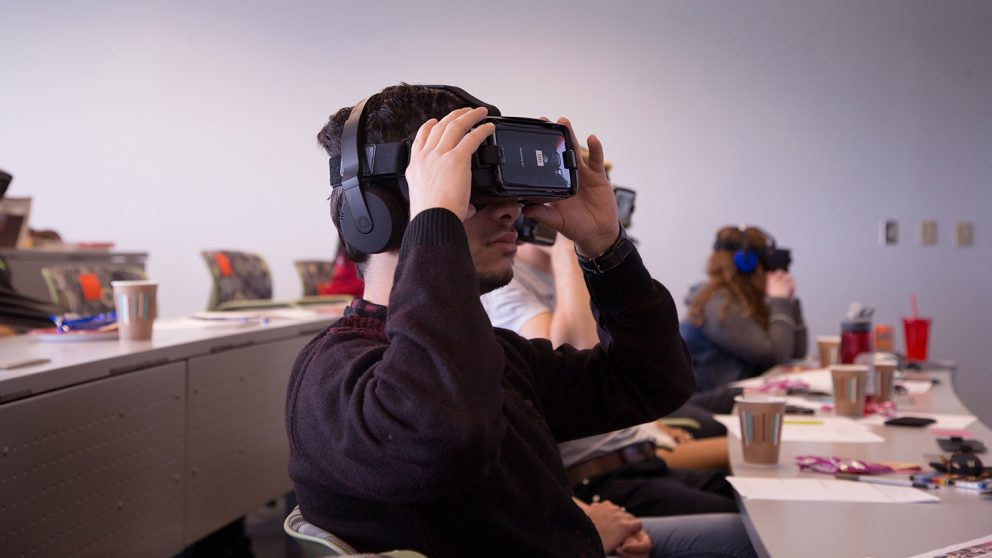 student using Gear VR