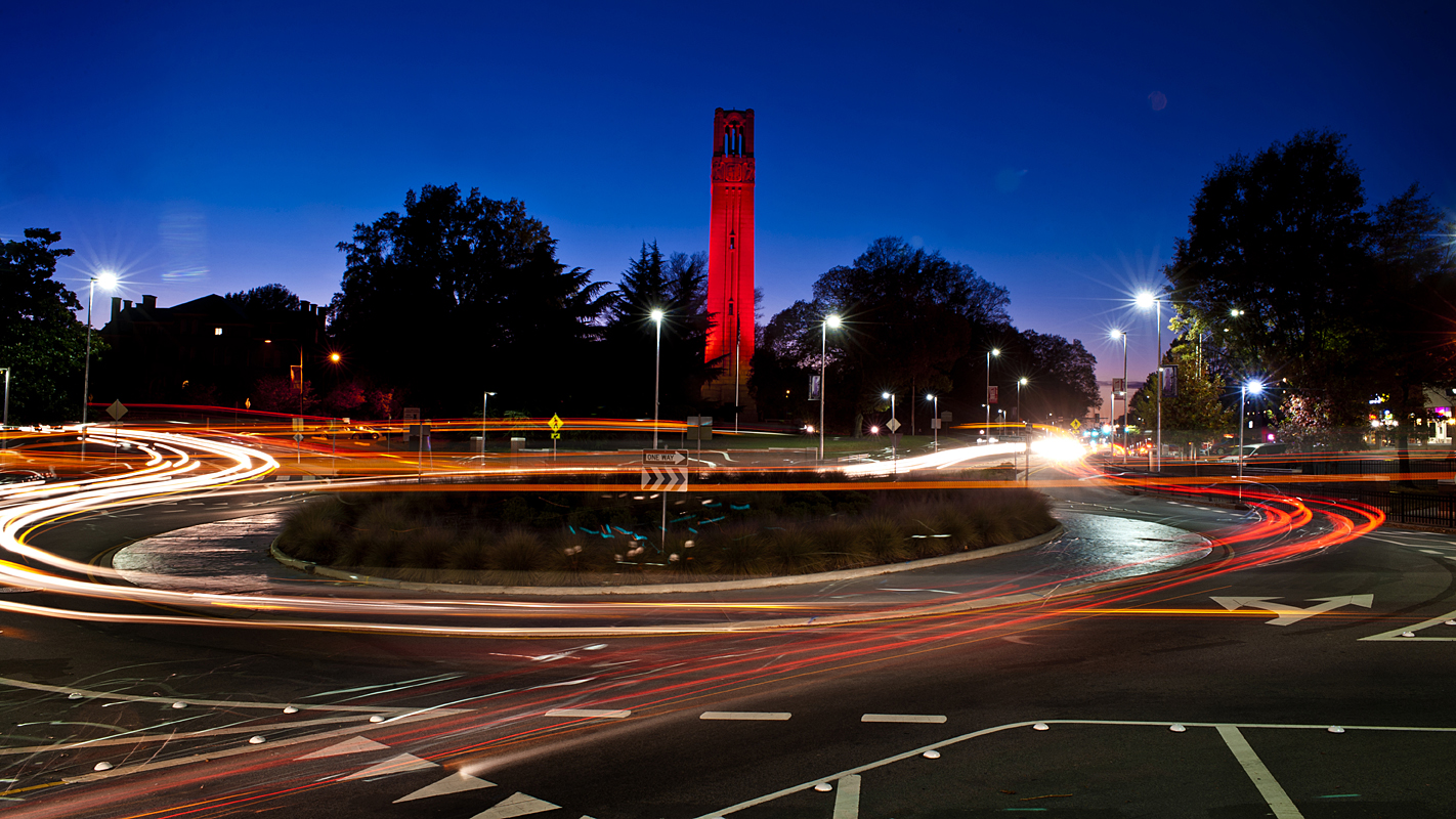 red belltower at night