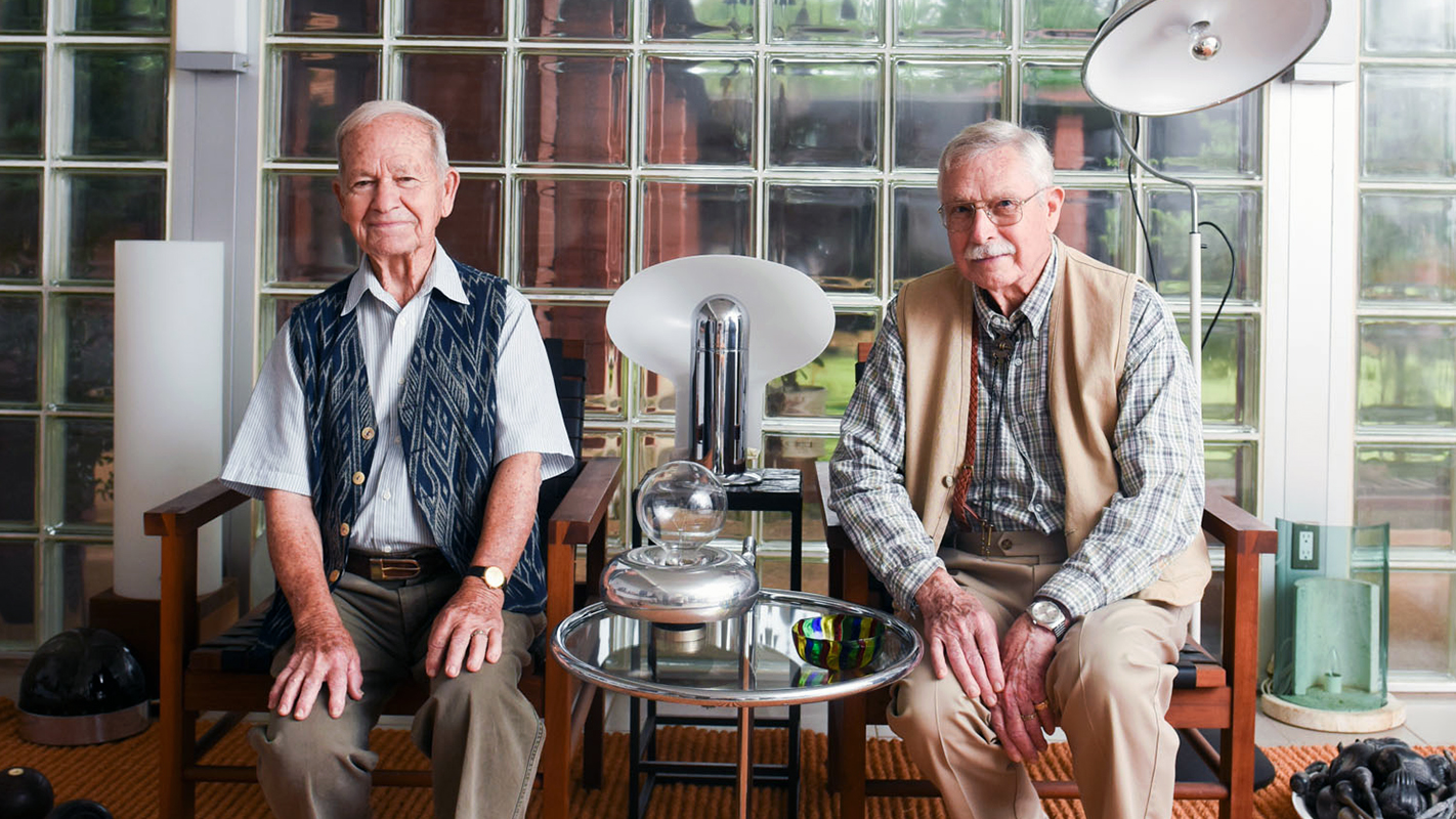 Artists J. Ormond Sanderson Jr. and Robert Keith Black at their home.
