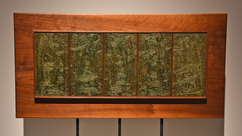 Ormond Sanderson's Metamorphosis (1963 — enamels on etched copper, basse-taille technique).