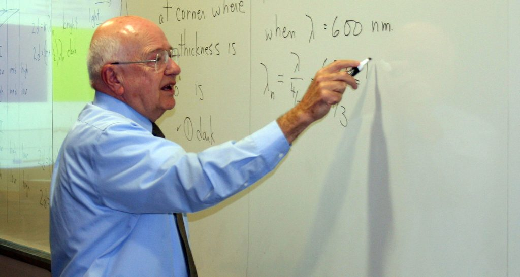 Professor Richard Patty working out an equation