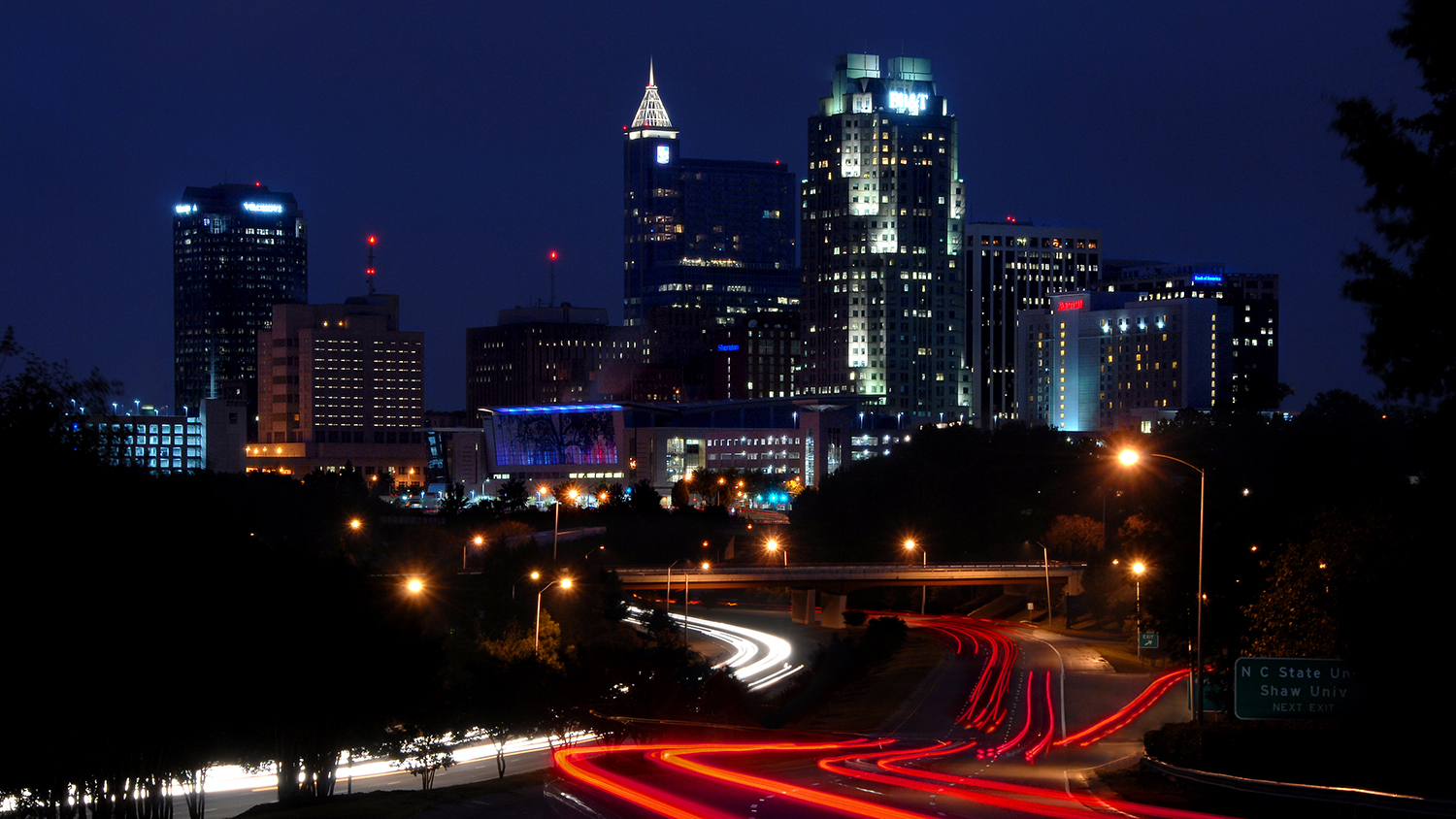 Skyline of Raleigh in the early evening
