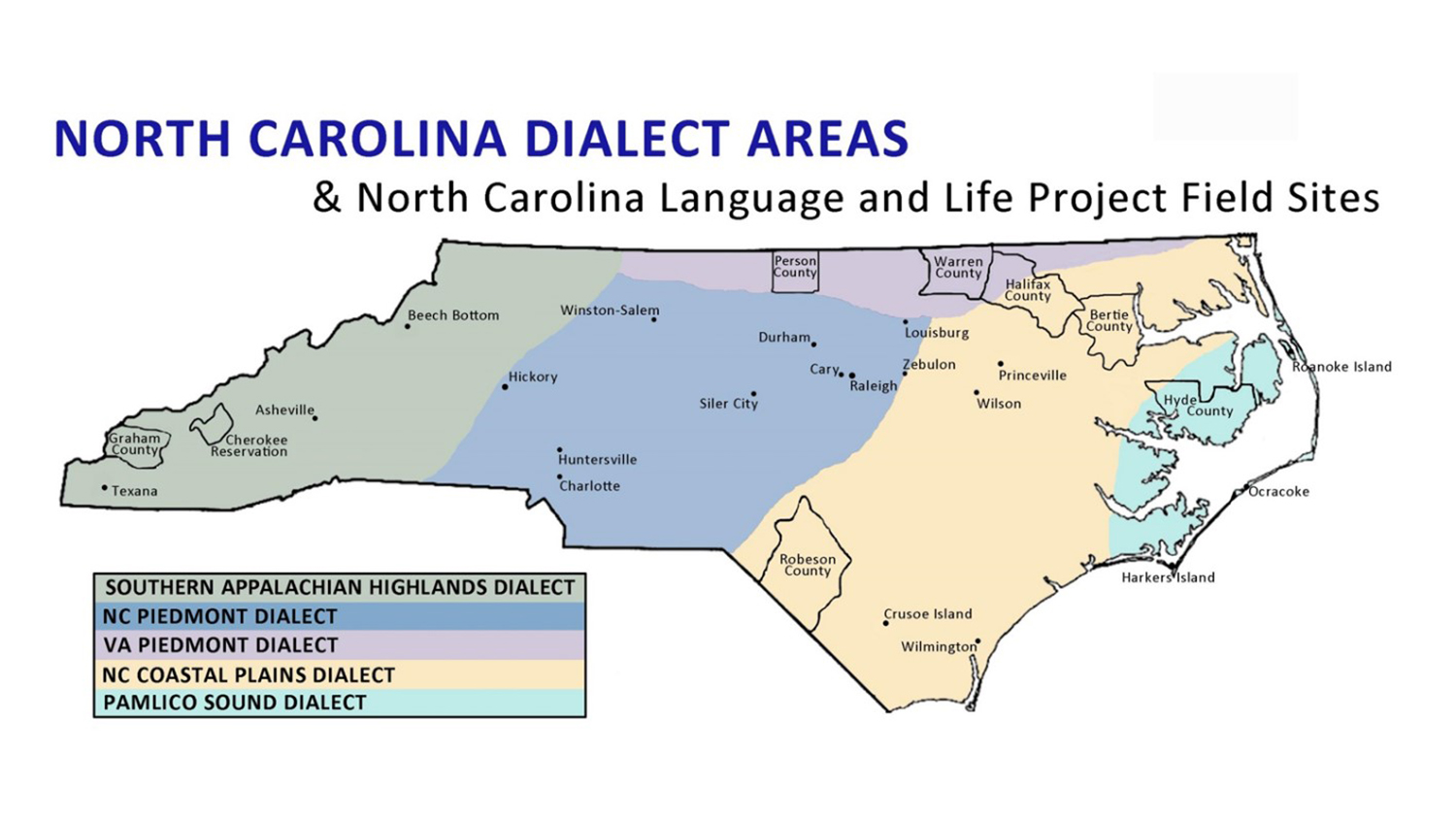 Map of North Carolina dialect areas