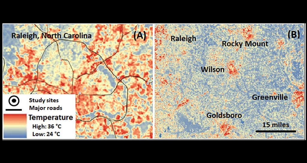 Map shows urban heat islands in and around Raleigh and several other N.C. cities.