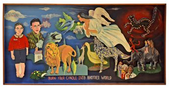 The collaborative artwork Burn Your Candle Into Another World, created by Howard Finster and other participants in the Mountain Lake Workshop, depicting people, an angel, and animals.