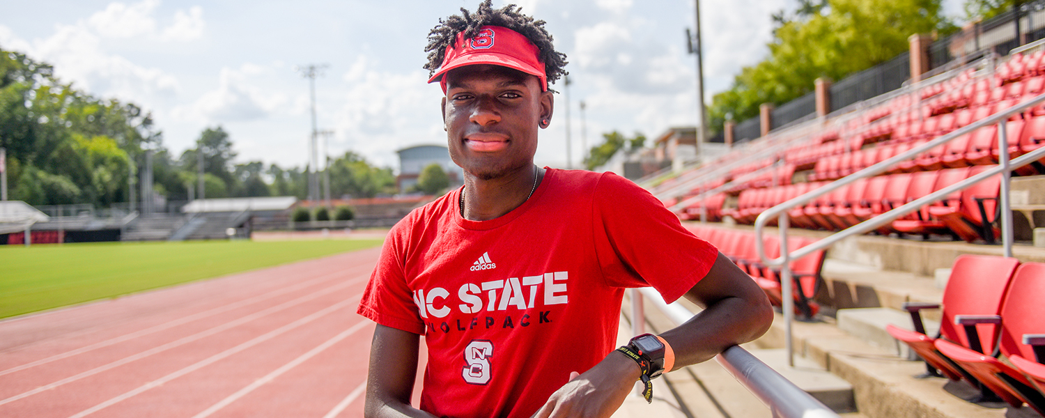 NC State student Ares Epps on Paul Derr Track.