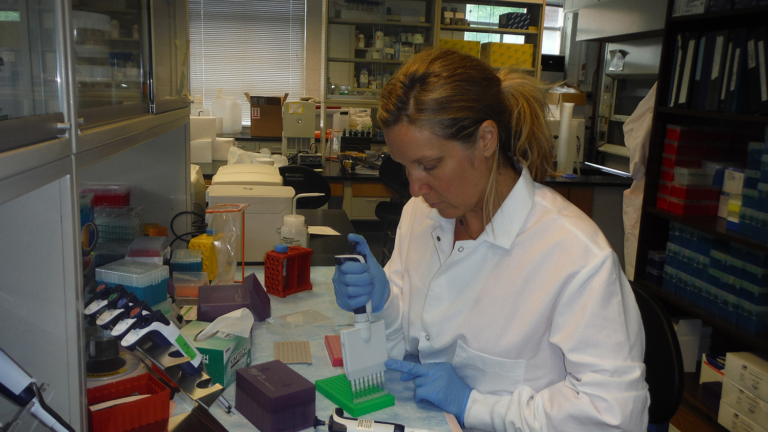 Photo of researcher in the lab.