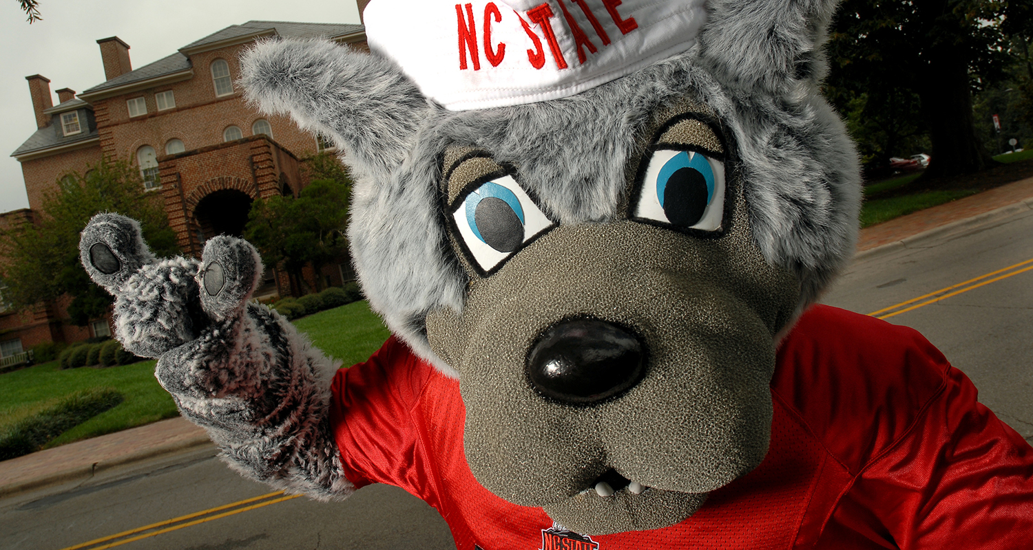 Mr Wuf in front of Holladay Hall.