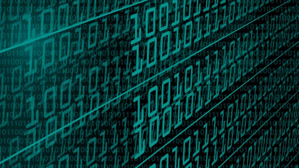 Rows of binary code.