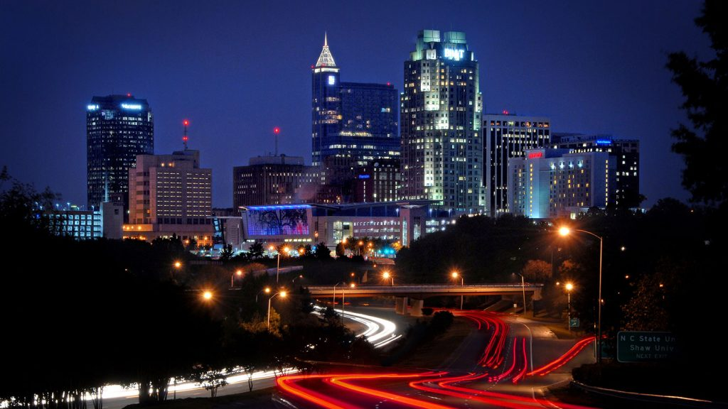 The Raleigh, North Carolina, skyline at night