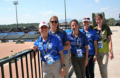 NC State College of Veterinary Medicine student volunteers near the track at the World Equestrian Games.