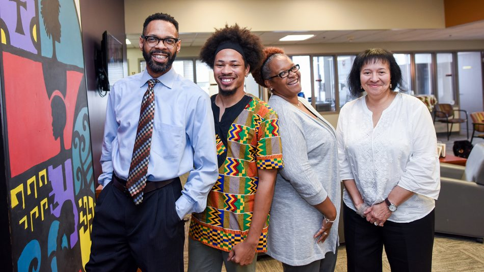 The center's staff in their office on the third floor of Witherspoon Student Center. From left to right: Moses T. Alexander Greene, John Miller IV, Tonya Hines and Angela Jenkins (Not pictured: Sachelle Ford).
