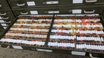 Photo of a drawer containing vials of dyes.