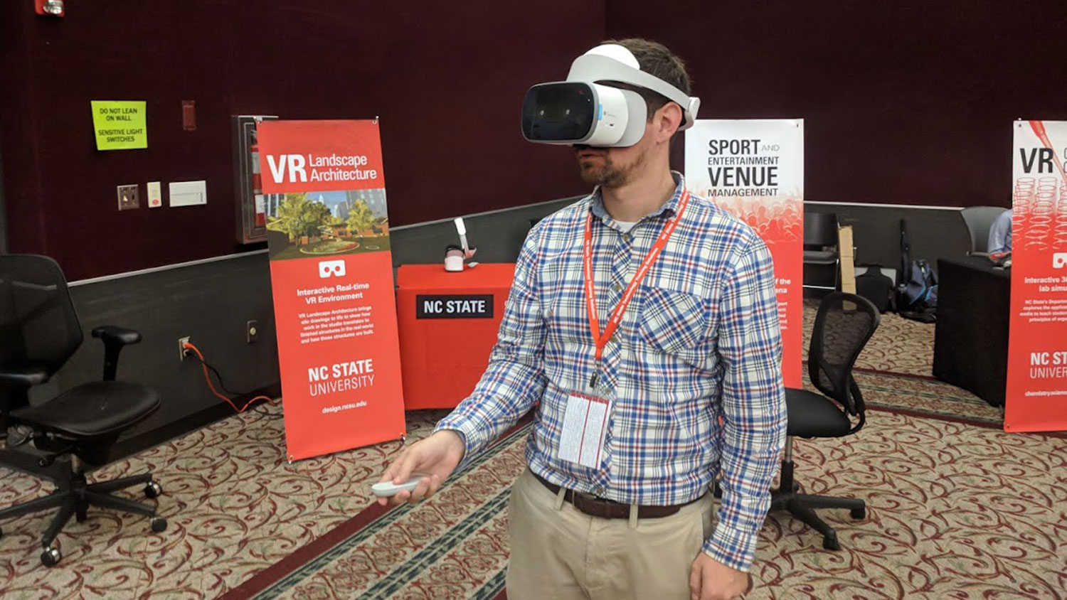 Person wearing a VR headset