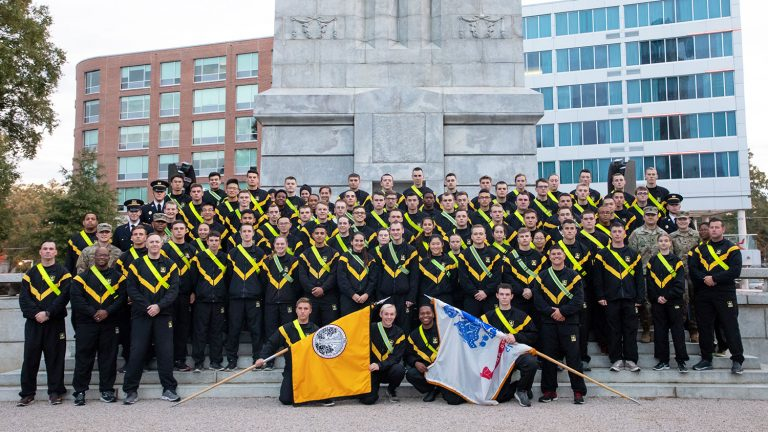 Members of the U.S. Army, Air Force and Navy ROTC units at the Belltower