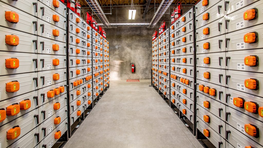 rows of lithium ion batteries