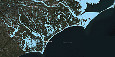 map of rivers and tributaries in eastern North Carolina.