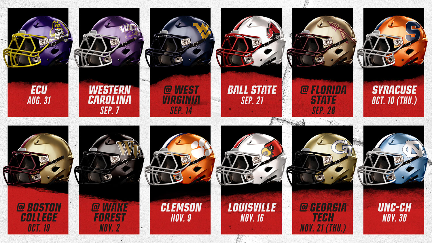 Graphic with 2019 NC State football schedule