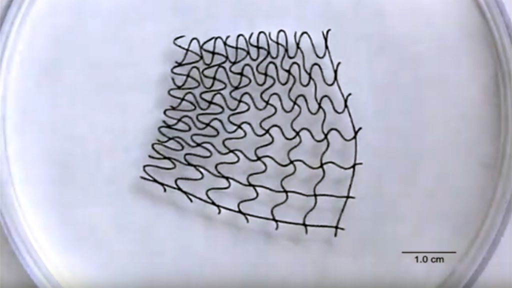 A still image from a video showing a 3-D printed magnetic mesh.