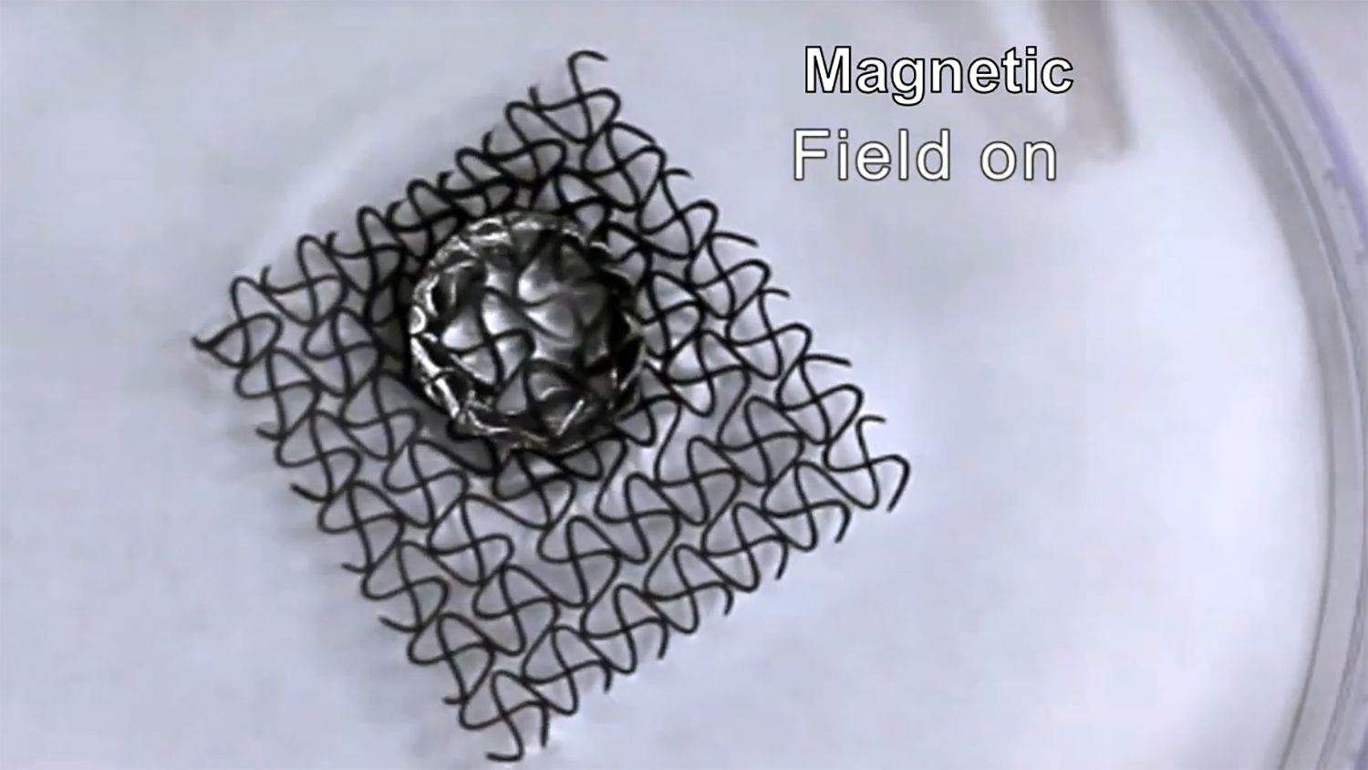 A still image from a video showing a 3-D printed magnetic water dispenser.