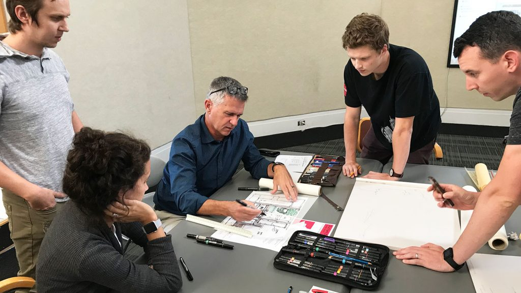 NC State School of Architecture students working with architect David Maurer.