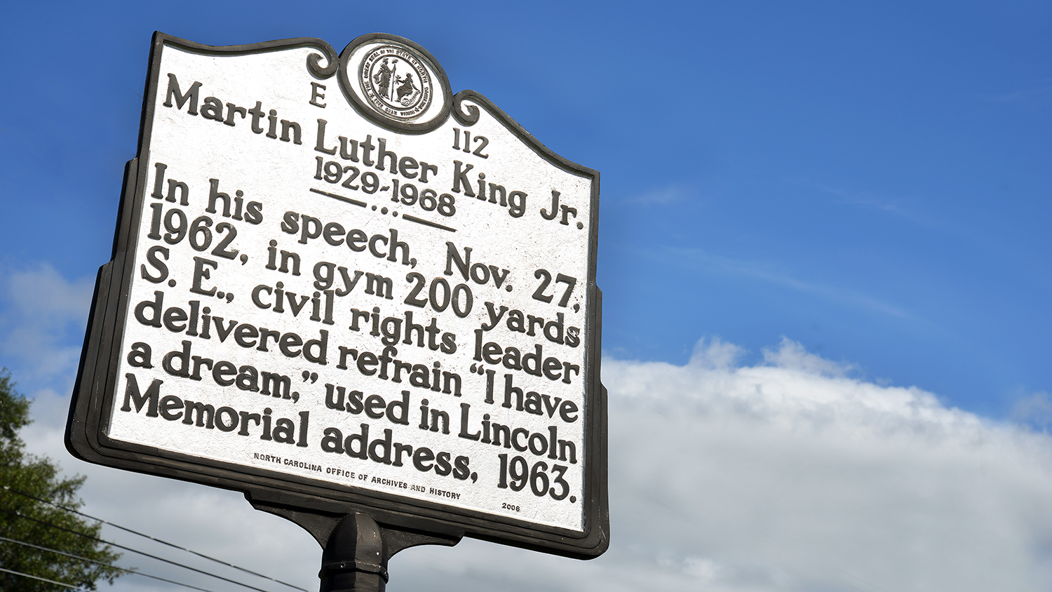 North Carolina historical marker for Dr. Martin Luther King's speech given in Rocky Mount.
