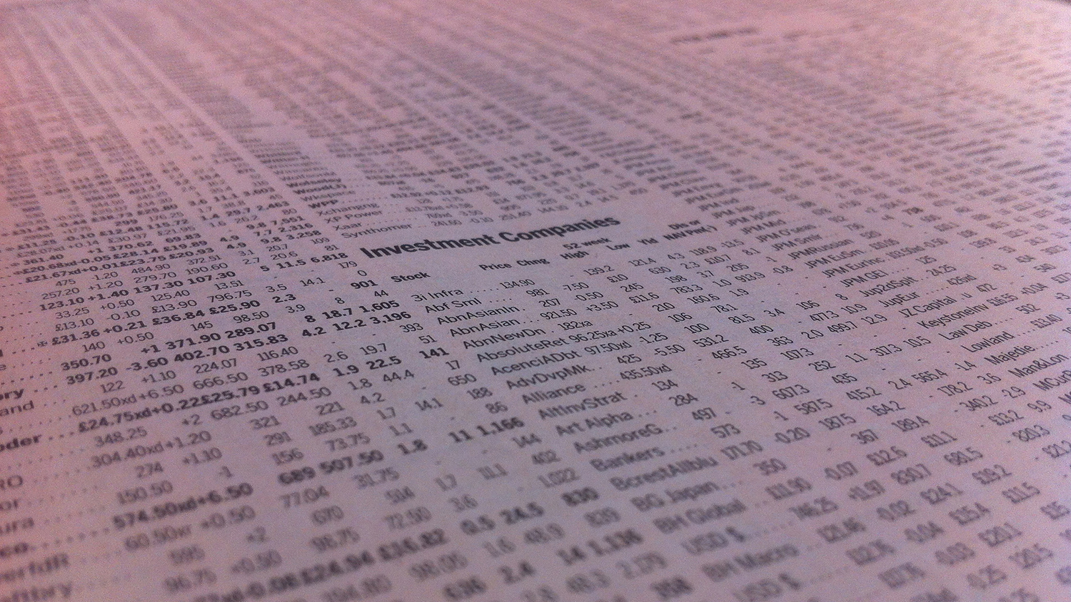 newpaper listing of stock prices