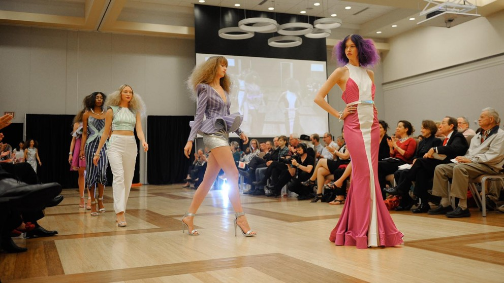 Models exhibit the work of student designer Gillian Paige.