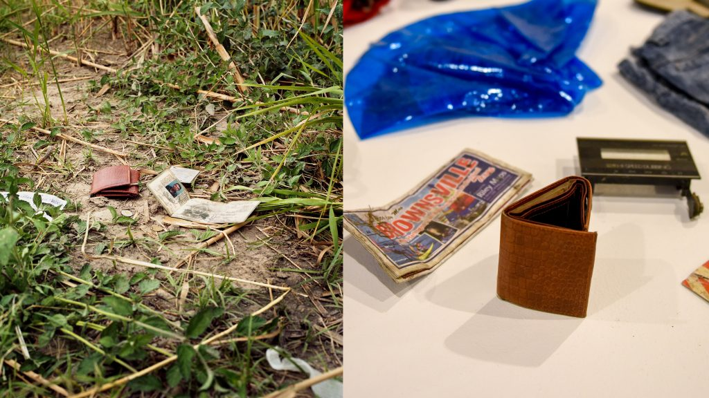 A found wallet photographed on the ground, and another found wallet displayed in the Gregg Museum.