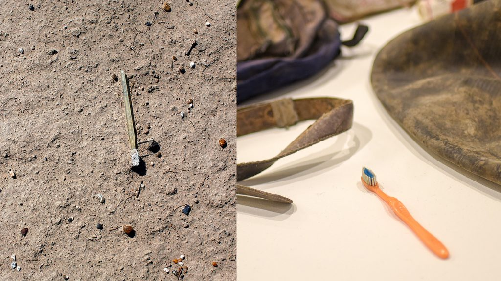 At left, a photograph of a toothbrush on the ground; at right, another toothbrush on display in the Gregg Museum.