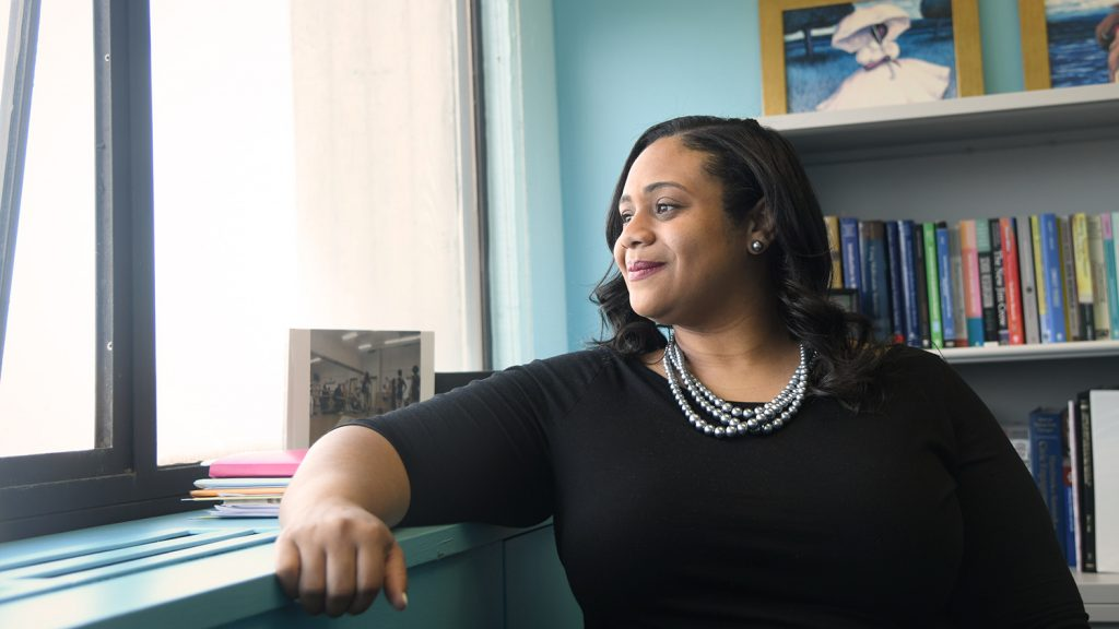 Elan Hope, assistant professor in NC State's Department of Psychology, looks out her office window.