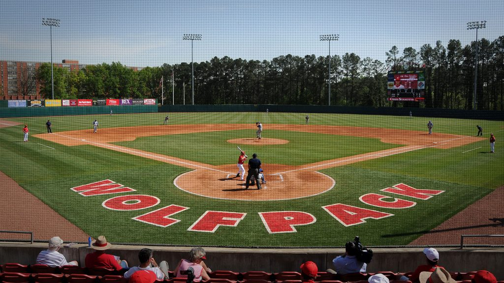 Wolfpack batter up at the plate in Doak Stadium.