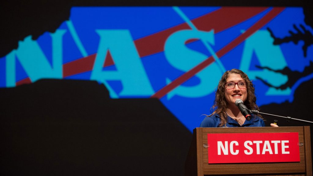 Astronaut Christina Koch delivering a talk at NC State University