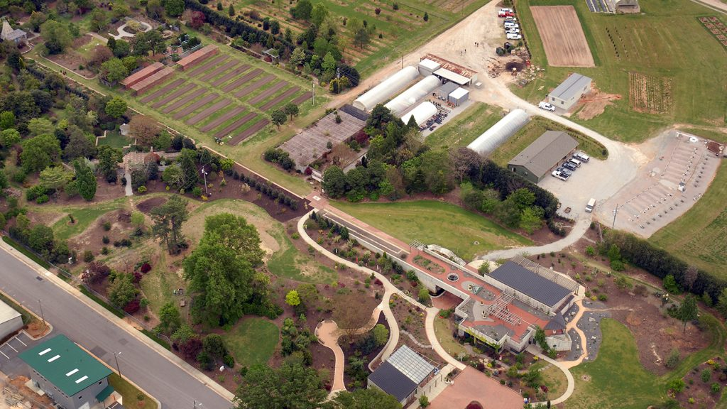 An aerial image of the JC Raulston Arboretum grounds.