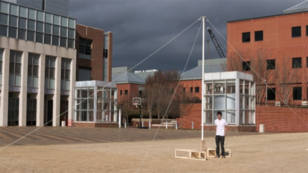 student with five meter antenna