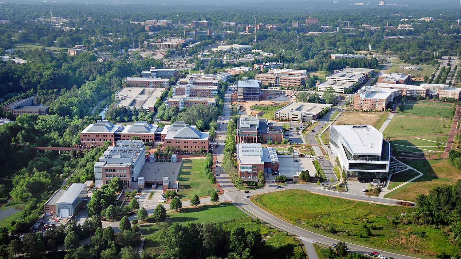Aerial view of Centennial Campus, looking north towards main campus