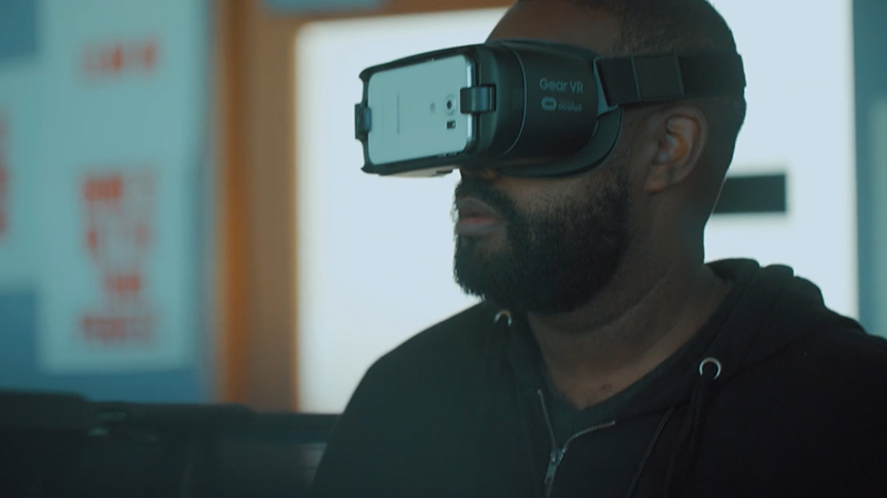 NC State Assistant Professor Derek Ham wears a virtual reality headset