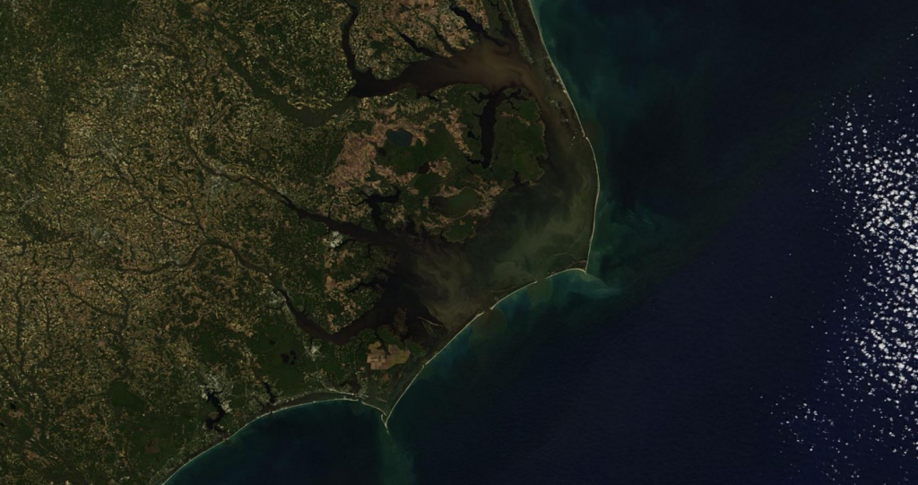Organic matter washed into Pamlico Sound by Hurricane Matthew. Credit: NASA Terra/MODIS visualized using Zoom Earth