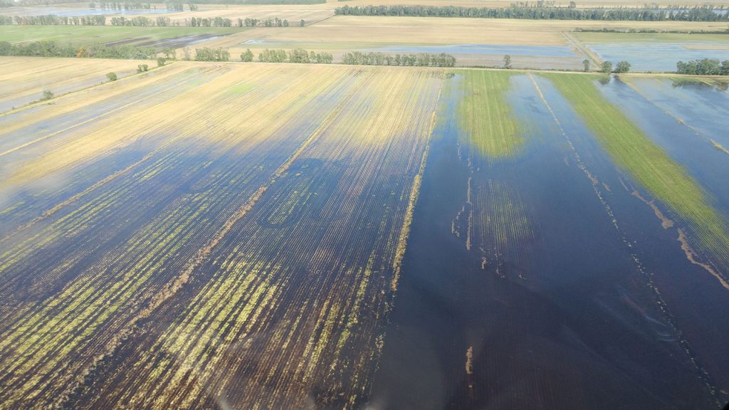 Agricultural fields flooded after Hurricane Matthew