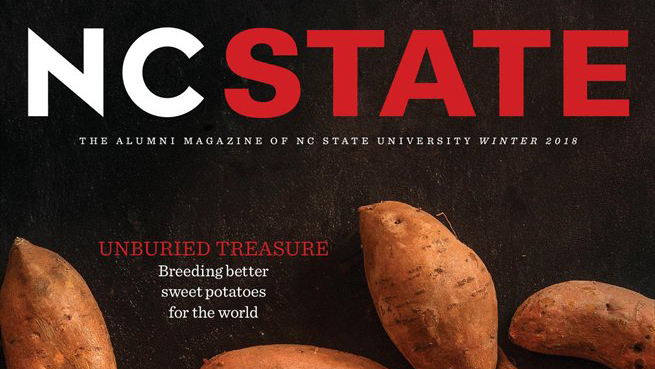 A snapshot of the cover of the winter 2018 edition of NC State magazine.