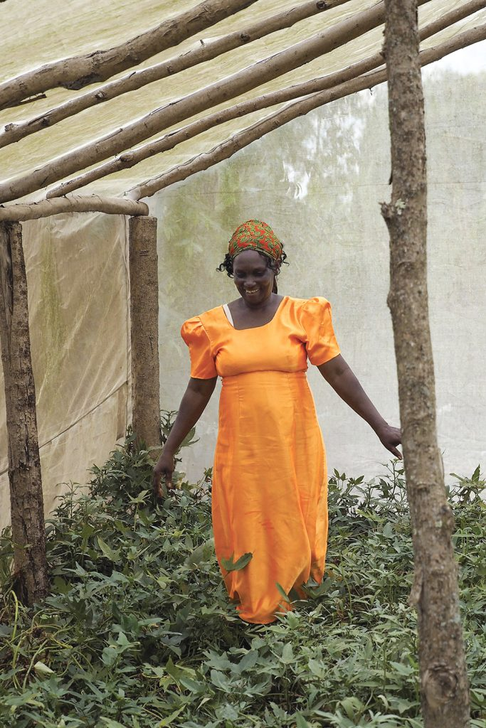A woman dressed in orange stands in a greenhouse in Uganda.